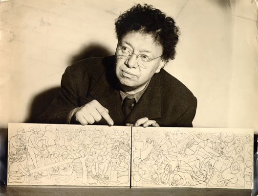 Diego Rivera with mural sketch