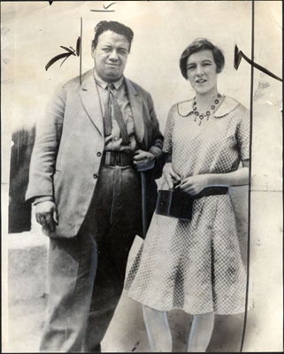 Diego Rivera and Emmy Lou Packard, then 13, when she met him in Mexico City, 1927. SAN FRANCISCO HISTORY CENTER, SAN FRANCISCO PUBLIC LIBRARY