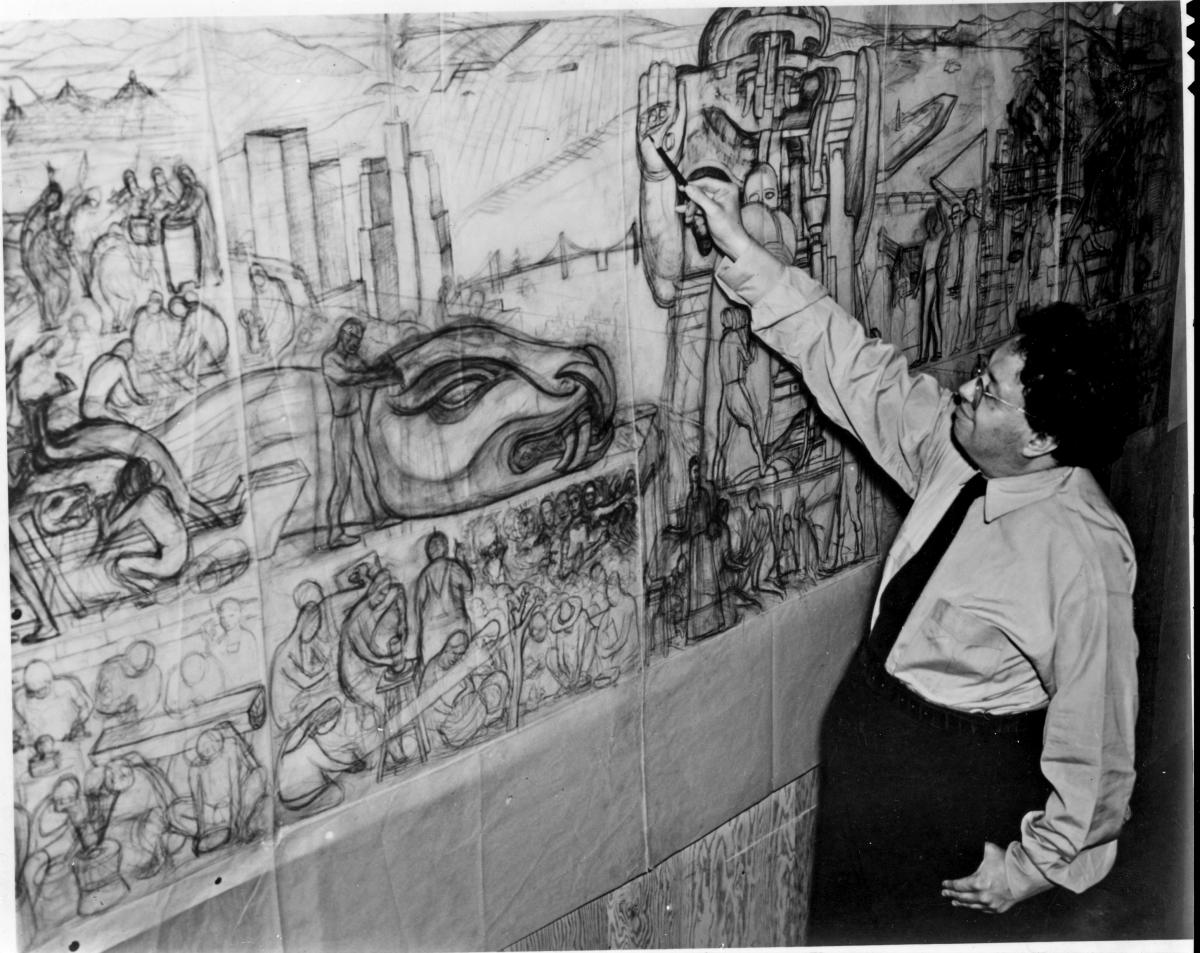 Rivera with large mural sketch