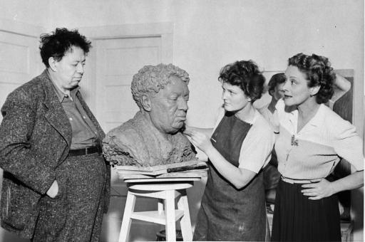 Frances Rich, sculptress, modeling Rivera bust