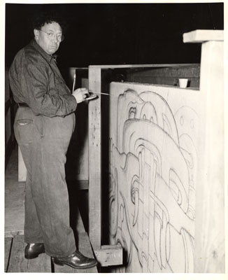 Rivera drawing the mural in charcoal
