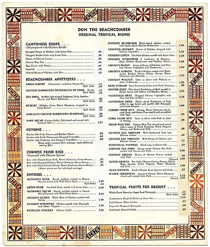 Don the Beachcomber menu back