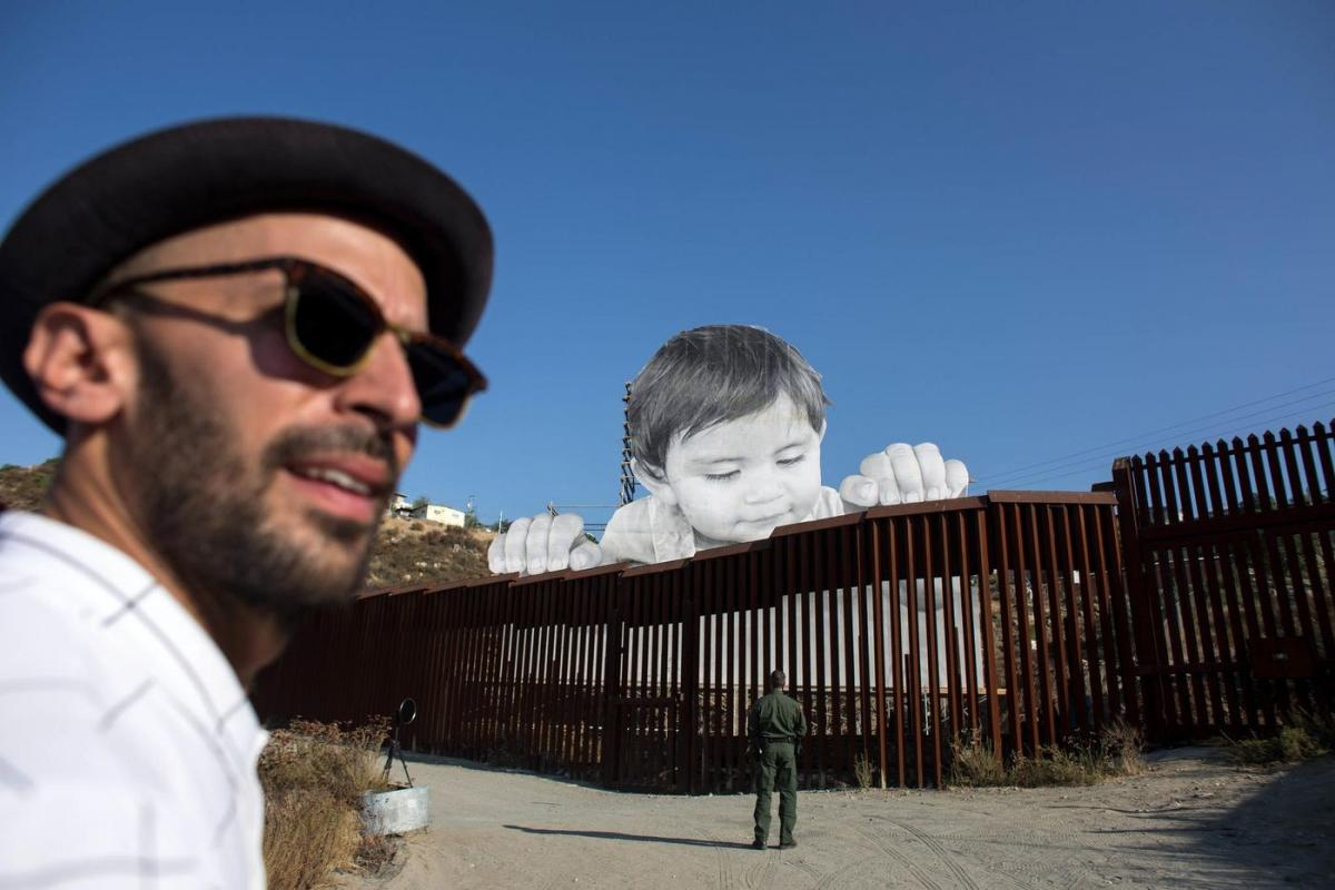 French artist JR's artwork on the U.S.-Mexico border