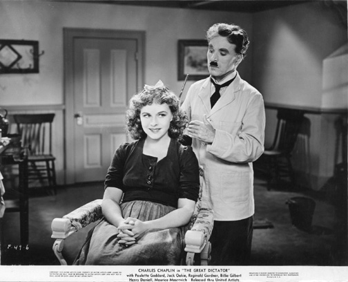 "Charlie Chaplin with Paulette Goddard in ""The Great Dictator"", 1940"
